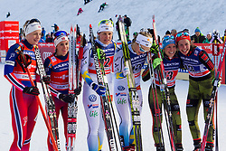 Second placed, Astrid Uhrenholdt Jacobsen/Heidi Weng, Winners Ida Ingemarsdotter/Stina Nilsson and Third placed, Hanna Kolb/Sandra Ringwald during the ladies team sprint race at FIS Cross Country World Cup Planica 2016, on January 17, 2016 at Planica, Slovenia. Photo By Urban Urbanc / Sportida