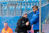 Treningskamp fotball 2014: Molde - Aalesund. Moldes trener Tor Ole Skullerud (t.h.) i treningskampen mellom Molde og Aalesund på Aker stadion.