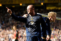 Photo: Jed Wee/Sportsbeat Images.<br /> Scotland v Lithuania. UEFA European Championships Qualifying. 08/09/2007.<br /> <br /> Scotland's Garry O'Connor (R) celebrates with Kris Boyd after opening Boyd opened the scoring.