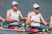 Plovdiv BULGARIA. 2017 FISA. Rowing World U23 Championships. <br /> USA BM4+. left. LANDBOE, Arne and OLSON, Evan, <br /> Wednesday. PM,  Heats 16:15:01  Wednesday  19.07.17   <br /> <br /> [Mandatory Credit. Peter SPURRIER/Intersport Images].