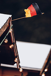 14.12.2019, Vogtland Arena, Klingenthal, GER, FIS Weltcup Skisprung, Klingenthal, Einzelbewerb, Damen, Wertungssprung, im Bild Deutsche Fahne im Wind, Absage Feature // German flag in the wind cancellation feature during women's Skijumping competition for the FIS Skijumping World Cup at the Vogtland Arena in Klingenthal, Germany on 2019/12/14. EXPA Pictures © 2019, PhotoCredit: EXPA/ JFK