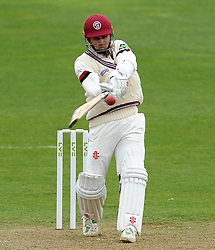 Somerset's Johann Mybrgh pulls the ball off the bowling of Durham's Paul Coughlin - Photo mandatory by-line: Harry Trump/JMP - Mobile: 07966 386802 - 12/04/15 - SPORT - CRICKET - LVCC County Championship - Day 1 - Somerset v Durham - The County Ground, Taunton, England.