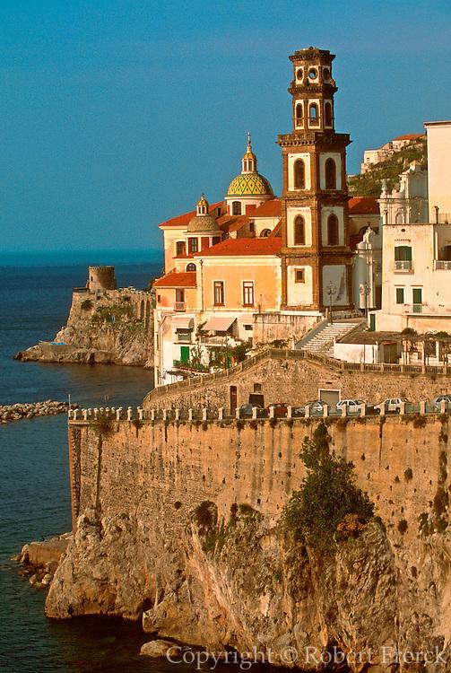 ITALY, AMALFI COAST, Atrani, San Salvatore Church rises above the small fishing harbor and the sea just east of Amalfi