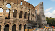 Flavian Amphitheater, Colosseum or Coliseum during renovation. It is an oval amphitheater in the center of the city of Rome. It is the largest amphitheater ever built. One of the 7 Wonders of the World .