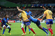 Madalin Lemnaru (Romania) calling a mark just outside of the try line during the Rugby World Cup Pool D match between France and Romania at the Queen Elizabeth II Olympic Park, London, United Kingdom on 23 September 2015. Photo by Matthew Redman.