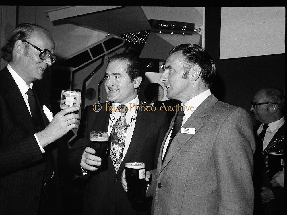 """Guinness Launch """"Guinness Light"""".  (M79)..1979..26.06.1979..06.26.1979..26th June 1979..At the Guinness Theatre in St James Gate Brewery,Guinness launched """"Guinness Light"""". With a spectacular show Guinness brought to the market a new lighter version of its world famous stout. it is hoped that it will fill a niche with younger drinkers frequenting Ireland's pubs and clubs..Pictured sampling the new Guinness Light were (L-R), Lord Iveagh, Eddie Bohan, President, Vitners Federation of Ireland and E P galvin, Managing Director, Arthur Guinness Ltd."""