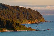Thr rugged coastal hills over the Pacific Ocean at False Klamath Cove, Redwood National Park, California