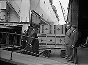 01/08/1962<br /> 08/01/1962<br /> 01 August 1962 <br /> Loading Sunbeam Jerseywear  onto ship at B and I North Wall, Dublin. <br /> Image shows boxes about to be loaded on the ship at the quay.