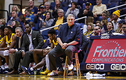 Mar 20, 2019; Morgantown, WV, USA; West Virginia Mountaineers head coach Bob Huggins watches from the bench during the second half against the Grand Canyon Antelopes at WVU Coliseum. Mandatory Credit: Ben Queen