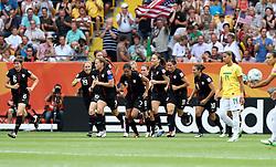 10.07.2011, Glückgas Stadion, Dresden,  GER, FIFA Women Worldcup 2011, Viertelfinale , Brasil (BRA) vs USA (USA)  im Bild   .Torjubel USA nach Eigentor Daiane (BRA) zum 0:1  .//  during the FIFA Women Worldcup 2011, Quarterfinal, Germany vs Japan  on 2011/07/10, Arena im Allerpark , Wolfsburg, Germany.  .EXPA Pictures © 2011, PhotoCredit: EXPA/ nph/  Hessland       ****** out of GER / CRO  / BEL ******