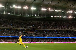 February 23, 2019 - Melbourne, VIC, U.S. - MELBOURNE, VIC - FEBRUARY 23: Melbourne City goalkeeper Eugene Galekovic (18) goal kicks the ball at round 20 of the Hyundai A-League Soccer between Melbourne City FC and Melbourne Victory on February 23, 2019 at Marvel Stadium, VIC. (Photo by Speed Media/Icon Sportswire) (Credit Image: © Speed Media/Icon SMI via ZUMA Press)