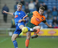 Photo. Aidan Ellis.<br /> Stockport County v Plymouth Argyle.<br /> Nationwide Division 2.<br /> 24/01/2004.<br /> Plymouth's Paul Connolly and Stockport's Rickie Lambert