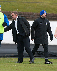 Hamilton manager Billy Reid and Cowdenbeath's manager Colin Cameron at the end..Cowdenbeath 1 v 1 Hamilton, 9/3/2013..©Michael Schofield..