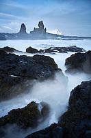 Malarrif in winter, Lóndrangar Sea Stacks in background. Snæfellsnes Peninsula, West Iceland.