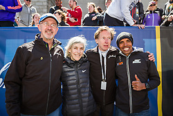 Elite runners meet and greet spectators at the finish line. Greg Meyer, Bill Rodgers, Joan Samuelson, Meb Keflezighi,
