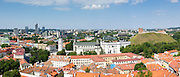 Looking across Vilnius, the Clocktower and Cathedral and Gediminas Tower from the belltower at Vilnius University, in Senamiestyje/Old Town, Vilnius, Lithuania
