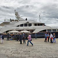 VENICE, ITALY - JUNE 03: Yacht Sea Blue Z in S Mark's Basin under a heavy guard during  Shimon Peres visit on June 3, 2011 in Venice, Italy.  This year's Biennale is the 54th edition and will run from June 4th until 27 November.