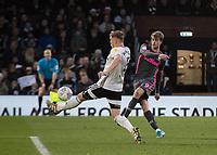 Football - 2019 / 2020 Sky Bet (EFL) Championship - Fulham vs. Leeds United<br /> <br /> Patrick Bamford (Leeds United) with a strike blocked by Alfie Mawson (Fulham FC) at Craven Cottage<br /> <br /> COLORSPORT/DANIEL BEARHAM