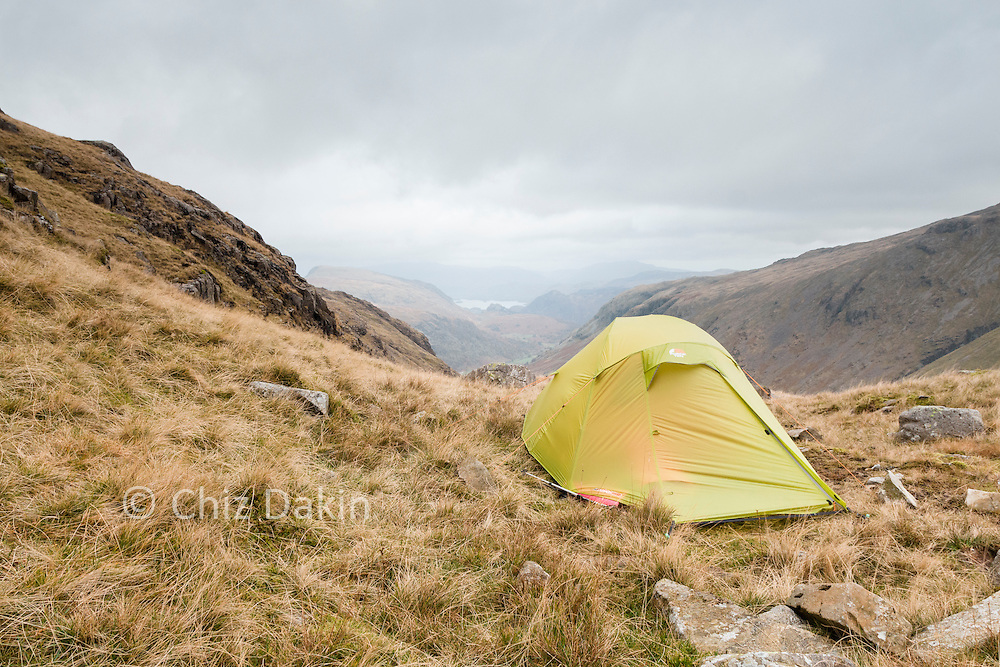 F10 Argon 200 tent pitched at Hollowstones wild campsite overlooking Wasdale, Lake District National Park.