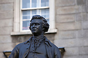 Statue of Edmund Burke, outside Trinity College, Dublin. Burke was an 18th century Irish author, satirist, politician, statesman, wit, philospher, orator, and political theorist. Statue by John Henry Foley in the 1860s