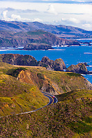Windy road on Highway 1 overlooking the stunning coastline in Mendocino County, California USA