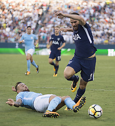 July 29, 2017 - Nashville, Tennessee, U.S.A - Manchester City player sliding to steal the ball from Tottenham player. (Credit Image: © Hoss Mcbain via ZUMA Wire)