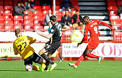 Crawley's Izale McLeod scores his sides first goal - photo mandatory by-line David Purday JMP- Tel: Mobile 07966 386802 - 11/10/14 - Crawley Town v Peterbourgh United - SPORT - FOOTBALL - Sky Bet Leauge 1  - London - Checkatrade.com Stadium