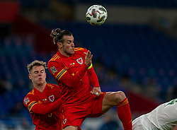 CARDIFF, WALES - Sunday, November 15, 2020: Wales' captain Gareth Bale (R) and Joe Rodon during the UEFA Nations League Group Stage League B Group 4 match between Wales and Republic of Ireland at the Cardiff City Stadium. Wales won 1-0. (Pic by David Rawcliffe/Propaganda)