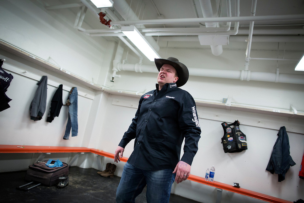 during the PBR Bull Riding event in Lethbridge, Alberta, March 4, 2017. Photograph by Todd Korol/Globe and Mail