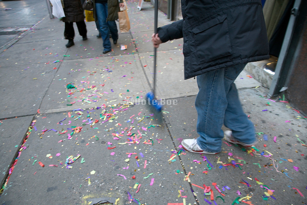 cleaning up after the party