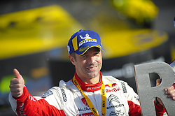 October 28, 2018 - Barcelona, Catalonia, Spain - The French driver, Sebastien Loeb of Citren Total Abu Dhabi WRT, celebrating his victory at podium ceremony during the last day of WRC Rally Racc Catalunya, on October 28, 2018 in Salou, Spain. (Credit Image: © Joan Cros/NurPhoto via ZUMA Press)