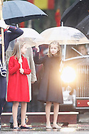 Queen Letizia of Spain, Crown Princess Leonor, Princess Sofia attended the National Day military parade on October 12, 2016 in Madrid, Spain.