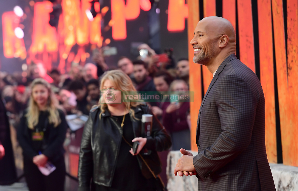 Dwayne Johnson attending the European premiere of Rampage, held at the Cineworld in Leicester Square, London