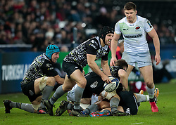 Ospreys' Dan Evans gets the ball away<br /> <br /> Photographer Simon King/Replay Images<br /> <br /> European Rugby Champions Cup Round 5 - Ospreys v Saracens - Saturday 13th January 2018 - Liberty Stadium - Swansea<br /> <br /> World Copyright © Replay Images . All rights reserved. info@replayimages.co.uk - http://replayimages.co.uk