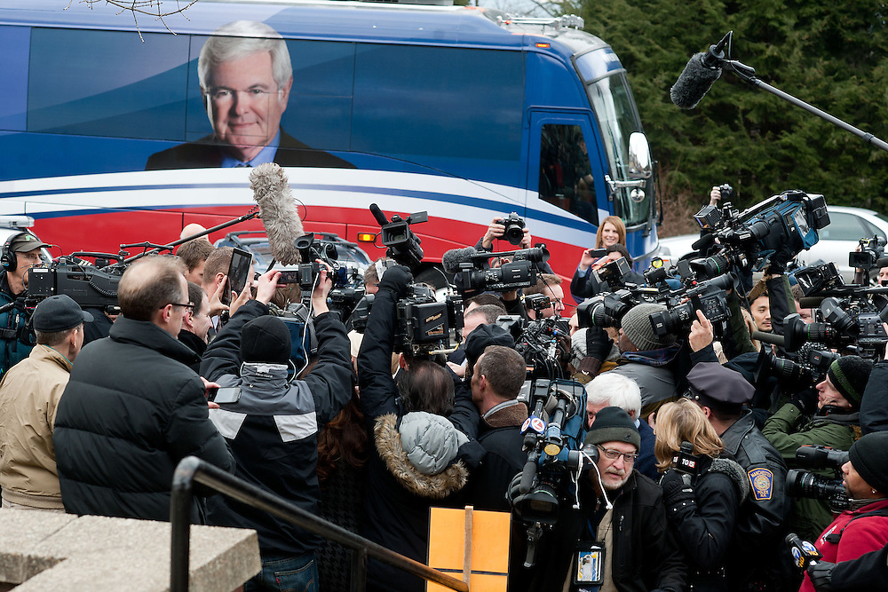 GOP Presidential candidate Newt Gingrich arrives at a polling station on Tuesday, Jan. 10, 2012 in Manchester, NH. (Photo by Jay Westcott/Politico)