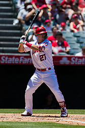 June 3, 2018 - Anaheim, CA, U.S. - ANAHEIM, CA - JUNE 03: Los Angeles Angels center fielder Mike Trout (27) during the MLB regular season game against the Texas Rangers on June 03, 2018 at Angel Stadium of Anaheim in Anaheim, CA. (Photo by Ric Tapia/Icon Sportswire) (Credit Image: © Ric Tapia/Icon SMI via ZUMA Press)