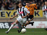Photo: Rich Eaton.<br /> <br /> Wolverhampton Wanderers v West Bromwich Albion. The FA Cup. 28/01/2007. West Broms Diomansy Kamara attacks ahead of Wolves Darren Potter