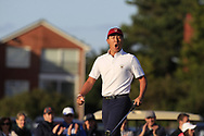 John Pak (USA) wins on the 18th green during Day 1 Singles of the Walker Cup at Royal Liverpool Golf CLub, Hoylake, Cheshire, England. 07/09/2019.<br /> Picture: Thos Caffrey / Golffile.ie<br /> <br /> All photo usage must carry mandatory copyright credit (© Golffile | Thos Caffrey)