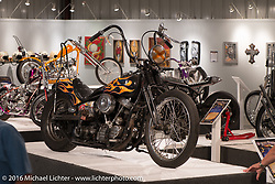 Richie Pan's 1950 Panhead in Michael Lichter's Skin & Bones tattoo inspired Motorcycles as Art show at the Buffalo Chip Gallery during the annual Sturgis Black Hills Motorcycle Rally.  SD, USA.  August 10, 2016.  Photography ©2016 Michael Lichter.
