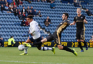Callum Robinson of Preston North End is tackled by Conor McLaughlin of Millwall during the EFL Sky Bet Championship match between Preston North End and Millwall at Deepdale, Preston, England on 23 September 2017. Photo by Paul Thompson.