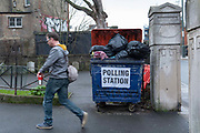 Outside St Lukes Church polling station on the 12th December 2019 in London in the United Kingdom. Polling stations have opened as the nation votes to decide the next UK government in a general election. Its the 3rd election in under 5 years.