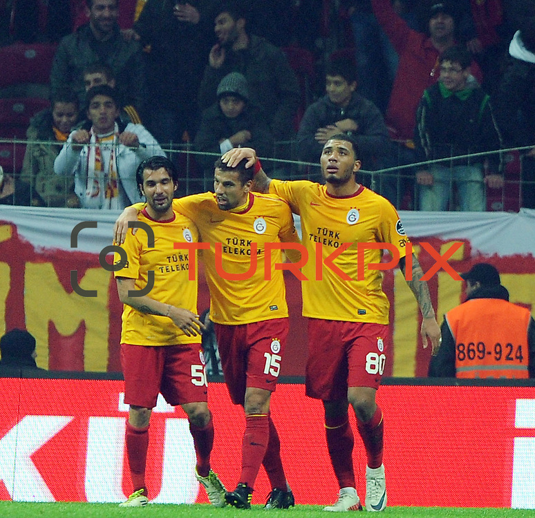 Galatasaray's Milan Baros (C) celebrate his goal with team mate during their Turkish Super League soccer match Galatasaray between IBBSpor at the TT Arena at Seyrantepe in Istanbul Turkey on Tuesday, 03 January 2012. Photo by TURKPIX