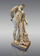 End of 2nd century beginning of 3rd century AD Roman marble sculpture of Hercules at rest copied from the second half of the 4th century BC Hellanistic Greek original,  inv 6001, Farnese Collection, Museum of Archaeology, Italy, grey background.<br /> <br /> If you prefer to buy from our ALAMY STOCK LIBRARY page at https://www.alamy.com/portfolio/paul-williams-funkystock/greco-roman-sculptures.html . Type -    Naples    - into LOWER SEARCH WITHIN GALLERY box - Refine search by adding a subject, place, background colour, etc.<br /> <br /> Visit our ROMAN WORLD PHOTO COLLECTIONS for more photos to download or buy as wall art prints https://funkystock.photoshelter.com/gallery-collection/The-Romans-Art-Artefacts-Antiquities-Historic-Sites-Pictures-Images/C0000r2uLJJo9_s0