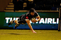 Sale Sharks Bryn Evans scores a try during the European Champions Cup, pool three mach at the AJ Bell Stadium, Salford.