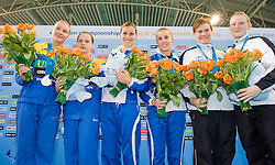 20.05.2012, Pieter van den Hoogenband Swimming Stadium, Eindhoven, NED, LEN, Turmspring Europameisterschaft 2012, Synchonspringen Damen 3 Meter Springbrett, im Bild Tania Cagnotto and Francesca Dallape' (ITA) gold medal, Olena Fedorova and Anna Pysmenska (UKR) silver medal, Katja Dieckow and Uschi Freitag (GER) bronze medal // during Women's 3m springboard synchro - final of LEN Diving European Championships at Pieter van den Hoogenband Swimming Stadium, Eindhoven, Netherlands on 2012/05/20. EXPA Pictures © 2012, PhotoCredit: EXPA/ Insidefoto/ Giorgio Perottino..***** ATTENTION - for AUT, SLO, CRO, SRB, SUI and SWE only *****