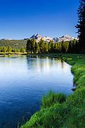 Cathedral Peak from the Tuolumne River, Tuolumne Meadows, Yosemite National Park, California USA