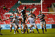 Sale Sharks wing Byron McGuigan  and Sale Sharks Cameron Neild watch as Leicester Tigers No.8 Jasper Wiese catches a high ball during a Gallagher Premiership Round 7 Rugby Union match, Friday, Jan. 29, 2021, in Leicester, United Kingdom. (Steve Flynn/Image of Sport)