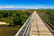 The Manuherikia River bridge on the Otago Central Rail Trail, Otago, South Island, New Zealand