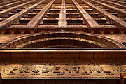 """SHOT 10/20/17 11:52:56 AM - The Guaranty Building, now called the Prudential Building, is an early skyscraper in Buffalo, New York. It was completed in 1896 and was designed by Louis Sullivan and Dankmar Adler.<br /> Sullivan's design for the building was based on his belief that """"form follows function"""". He and Adler divided the building into four zones. The basement was the mechanical and utility area. Since this level was below ground, it did not show on the face of the building. The next zone was the ground-floor zone which was the public areas for street-facing shops, public entrances and lobbies. The third zone was the office floors with identical office cells clustered around the central elevator shafts. The final zone was the terminating zone, consisting of elevator equipment, utilities and a few offices. The supporting steel structure of the building was embellished with terra cotta blocks. Buffalo, N.Y. is the second most populous city in the state of New York and is located in Western New York on the eastern shores of Lake Erie and at the head of the Niagara River. By 1900, Buffalo was the 8th largest city in the country, and went on to become a major railroad hub, the largest grain-milling center in the country and the home of the largest steel-making operation in the world. The latter part of the 20th Century saw a reversal of fortunes: by the year 1990 the city had fallen back below its 1900 population levels. (Photo by Marc Piscotty / © 2017)"""
