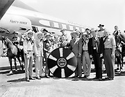 Ackroyd 01571-7 Governor Douglas McKay and mounted horsemen of Portland's Western Riders turned out in full regalia at Portland-Columbia Airport on Wednesday June 15, 1949 to help Western Air Lines celebrate inauguration of its new nonstop service from Portland to Los Angeles. After the Sons of the Pioneers were greeted by the Governor, the group rode downtown to J. K. Gills record store to perform a thirty minute live radio broadcast over KWJJ and KPOJ.